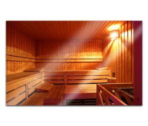 Acrylglasbilder 80x50cm Sauna Raum Spa Wellness Tür Acryl Bilder Acrylbild Acrylglas Wand Bild 14H690