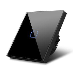 Glas Touch Lichtschalter Wandschalter Touchscreen Schalter LED BeleuchtungNachts-Finde-Hilfe ✔ AN / AUS Anzeigelicht-Wechsel ✔ schwarz 1-fach Schalter rechteckig