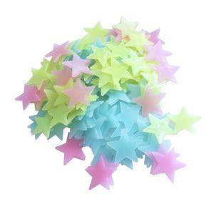 Glow In The Dark 3D Sterne Wandaufkleber 100 Stuecke Leuchtstoff Fluoreszierende Wandaufkleber fuer Kinder Baby Zimmer Schlafzimmer Decke Wohnkultur