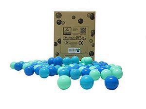 Bällebad24 - 200 Stück Bällebad Bälle Blau-Grün-Türkis Mix,5,5cm Ø, Spielqualität, Baby Bälle