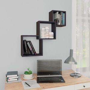 Gute Möbel® Cube Wandregale - Hängeregal Skandinavisch Bücherregal Regal Für Badezimmer,Schlafzimmer,Wohnzimmer, Grau 84,5×15×27 cm Spanplatte Größe:68 x 15 x 68 cm🌻7406
