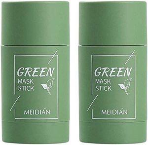 2 Stück Grüner Tee Purifying Clay Stick Mask Ölkontrolle Gesichtsmaske, Stick Deep Cleansing Anti-Akne-Maske Fine Solid Mask Green Tea, Akne Cleansing Solid Mask