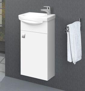 Badmöbel Set 40 cm Gäste WC Waschtischunterschrank Keramikwaschbecken Weiß Lackiert