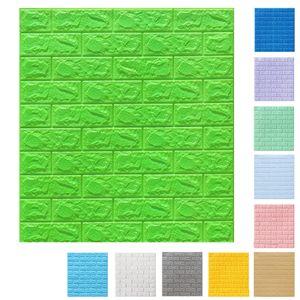 [5 mm dick] 3D Grün Ziegel Tapete, Wandtattoos Stereo Wasserfest Selbstklebend Wandaufkleber für Schlafzimmer Wohnzimmer moderne Hintergrund TV-Decor
