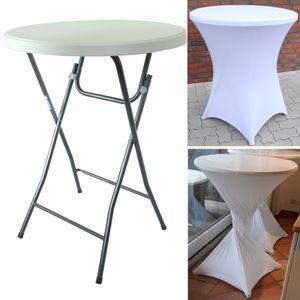 Partytisch mit Husse Bistrotisch Stehtisch Klapptisch Biertisch + Decke