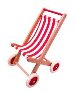 Egmont Toys Puppen-Buggy, Puppenwagen, rot/weiß gestreiftem Stoff, Maße: 40 x 59 x 38 cm