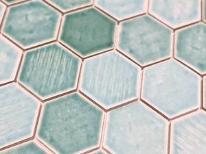 Mosaikfliese Keramik Mosaik Hexagonal grün glänzend Fliesenspiegel Dusche MOS11K-SAN5_m