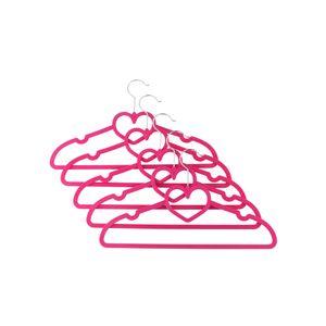 Axentia Kleiderbügel mit Herz, Samt, 5 Stück pink