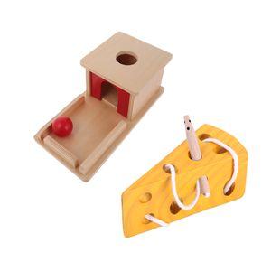 Hölzerne Montessori Ball Match Box \\u0026 Käse Schnürung Spiel Kid Praktisches Spielzeug