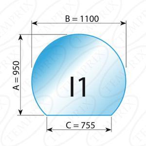 Kaminbodenplatte Transparent Form I1  950 x 1100 x 6mm - (Tragkraft bis 700 Kg)