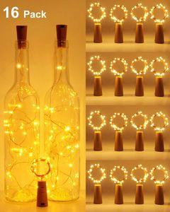 【16 Stück】Flaschenlicht,  Flaschenlichterkette Korken 2M 20LEDs Glas Korken Licht Kupferdraht Lichterkette mit Batterie für Flasche für außen/innen Deko für Party Hochzeit Weihnachten Warmweiß [Energieklasse A+++]