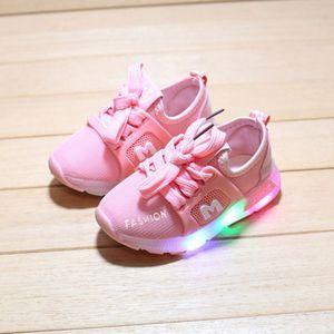 Kinder Baby Mädchen Jungen Brief Kristall Led Licht Leuchtende Laufsportschuhe Größe:25,Farbe:Rosa