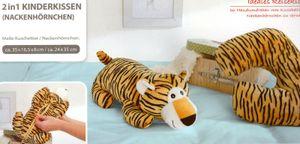 Reisekissen Kinder wandelbar 2in1 Nackenhörnchen Kuscheltier Stofftier Tiger