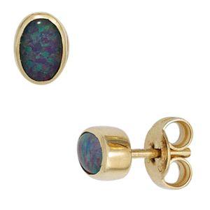 JOBO Ohrstecker 585 Gold Gelbgold 2 Opal-Tripletten Ohrringe