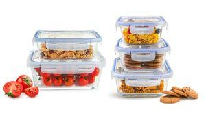 10tlg. Frischhaltedosen Glas Lunchbox Vorratsdosen Brotdose luftdicht -40 bis 250°C
