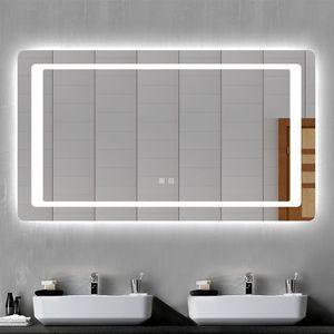 LED Badspiegel Badezimmerspiegel 120x70 mit Beleuchtung Lichtspiegel Wandspiegel mit Doppel Touch-schalter beschlagfrei IP44 energiesparend Kaltweiß