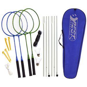 Best Sporting Badminton-Spiel Garnitur: Netz, 4 Schläger, 3 Badmintonbälle, Tasche