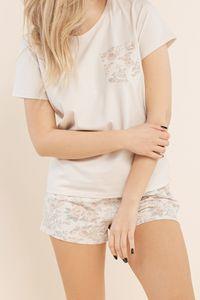 Schlafshirt - Kurzarm-T-Shirt mit Tasche und Blumenaufdruck - Größe: L - Bonamera