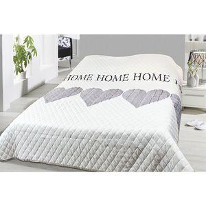 Tagesdecke 240x220 cm Bettüberwurf Sofaüberwurf Doppelbett gesteppt wattiert creme grau Home Herze