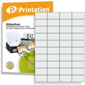 Printation Universal Etiketten für Kennzeichnungen - 52,5 x 29,7 mm selbstklebend weiß bedruckbar - 4000 Labels auf 100 A4 Bogen á 4x10 Aufkleber - 4461 LA111 3651