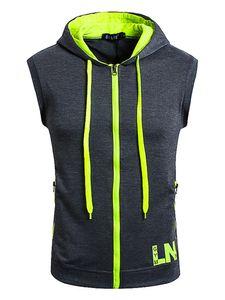 Herren Hooded Zip Vest Kurzarm Top Fashion Hoodie,Farbe: Dunkelgrau,Größe:XL
