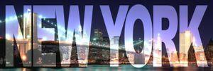 New York Poster Leinwandbild Auf Keilrahmen - New York, Big City Night (50 x 150 cm)