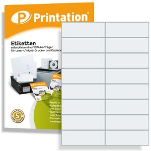 Printation Universal Etiketten 1600 Labels 105 x 37 mm weiß selbstklebend bedruckbar - 100 DIN A4 Bogen á 2x8 105x37 Aufkleber - 3484 4462 4620