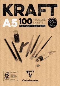 Kraftpapier-Block, 90g/m², 100 Blatt DIN A5