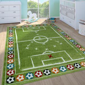 Kinderteppich Kinderzimmer Spielteppich Kurzflor Spielfeld Fußball In Grün, Grösse:160x220 cm