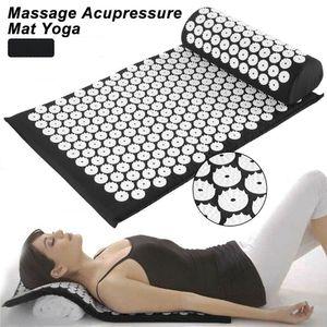 Miixia Schwarz Akupressur Set Nagelmatte Akupressurmatte Massagematte + Kissen Akupunktur Yogamatte