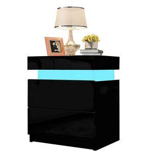 YOLEO Nachttisch Nachtschrank LED Nachtkommode Nachtkonsole Hochglanz/Front Kommode Schrank mit 2 Schubladen- LED Beleuchtung -für Schlafzimmer ( Schwarz / 45x35x52)