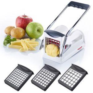 Westmark Kartoffel-/Pommesschneider und Gemüse-/ Obststiftler mit drei Messereinsätzen und Stempel, Edelstahl-Schneideinsätze, Weiß/Anthrazit, 11802260