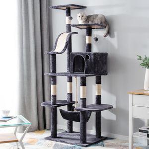 Katzenkratzbaum mit Höhle, Mehrstufige Katzenbaum Aktivität-Turm mit Barsch, mit Hängematte 170cm, Lila Grau