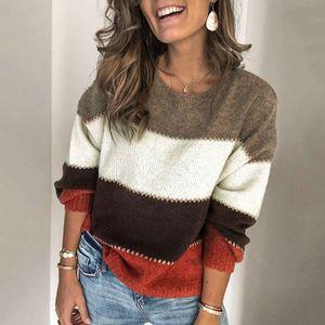 Frauen Pullover Farbblock Streifen Spleissen Tropfen Schultern gerippt lose laessig Herbst Winte Pullover【Mehrfarben/ S】