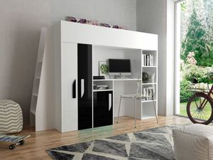 JOY 15 Multifunktionsbett Hochbett Kleiderschrank Schreibtisch Weiß/Schwarz 90x200 cm