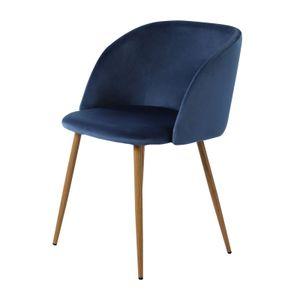 IPOTIUS 1er Set Retro Stuhl Polstersessel Samt Lounge Sessel Clubsessel Fernsehsessel,Blau