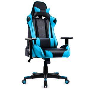 Gaming Stuhl, Racing Gamer Stuhl, Bürostuhl, Ergonomischer höhenverstellbar Schreibtischstuhl, Blau
