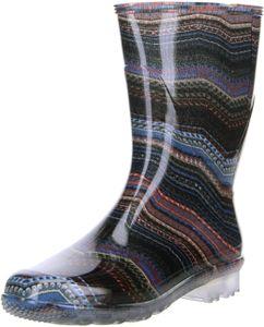 G&G Damen wasserdichte Gummistiefel Regenschuhe mehrfarbig/gestreift, Größe:38, Farbe:Mehrfarbig