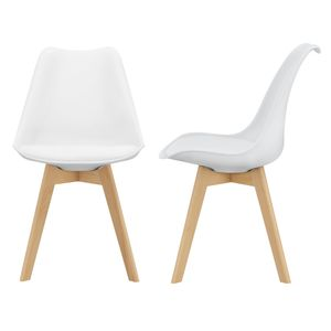 2x Design Stühle Esszimmerstuhl Weiß PolyurethanKunstleder Stuhl Holzgestell [en.casa]