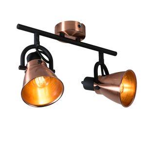 QAZQA - Modern Klassischer Spot | Spotlight | Deckenspot | Deckenstrahler | Strahler | Lampe | Leuchte Kupfer - Jos 2-flammig | Wohnzimmer | Schlafzimmer | Küche - Metall Länglich - LED geeignet E14