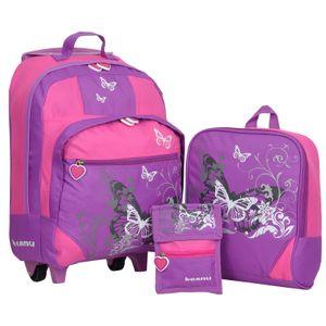 Keanu Kindertrolley 3er Set Reisegepäck stabil, höhenverstellbarem Griff, Reißverschlussfach, Reisekoffer Rucksack Brustbeutel (Lilac)