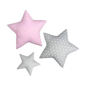 LULANDO Sternchenkissen 3er-Set, traumhaftes Kissen-Set, Baumwollkissen für Kinder in drei Farben, einzigartige Kinderzimmer-Deko, weiche Kuschelkissen, Materialien höchster Qualität, antiallergischer Schutz, mit Standard 100  , Farbe:Stars Pink