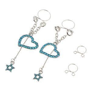 1 Paar baumeln Sie nicht Piercing-Clip auf Nippel Ring Körper Schmuck blau Herz Nipplering wie beschrieben Blaues Herz
