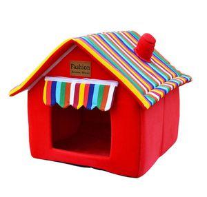 Hundehaus Hundehütte aus Stoff Sweet Home 56 x 50 x 58 cm Roter Ziegelstein