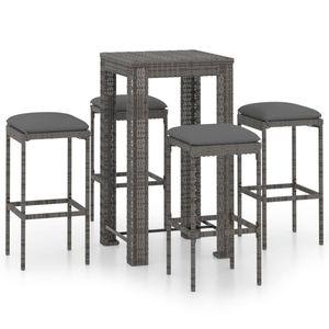 Outdoor-Essgarnitur 5-tlg. Gartenbar-Set, Garnitur Essgruppe, Esstisch mit Stuhl, mit Kissen Poly Rattan Grau