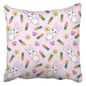 ABPHQTO Orange Adorable Kawaii mit niedlichen Hasen rosa Tier Anime Baby Bunny Karotte Cartoon Kissenbezug 45x45 cm