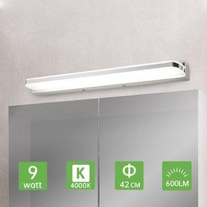 Kimjo LED Spiegelleuchte Badezimmer 42CM 9W, Spiegellampe IP44 Spritzwassergeschützt Neutralweiß 4000K 600LM für Badzimmer, Badleuchte Badspiegel Lampe Edelstahl Acryl Spiegel Schminklicht