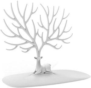 Halskettenhalter, Armband-Ständer/Schmuck-Organizer/Schmuckbaum, dekorativer Hirschgeweih, Baum-Design (weiß)