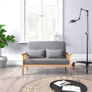 Meerveil Sofa, 2-Sitzer Sessel mit Kissen und Leinen Massivholzrahmen,  Vintage Couch für Schlafzimmer, Wohnzimmer oder Büro, Dunkelgrau