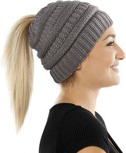 Damen & Mädchen Strickmütze mit Zopfloch für Ihren Pferdeschwanz - gestrickte Wintermütze